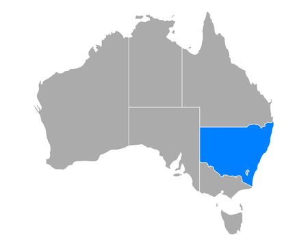 Map of New South Wales in Australia Ilustração
