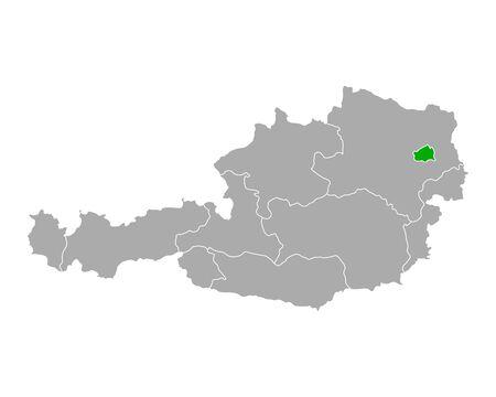 Map of Vienna in Austria Vector Illustratie