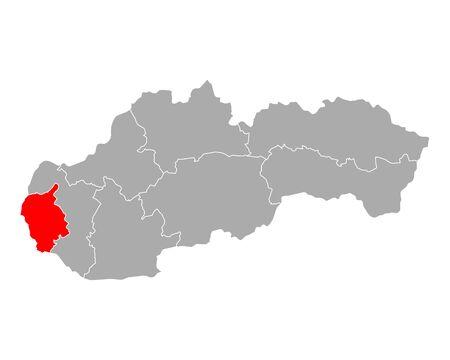 Map of Bratislavsky kraj in Slovakia Ilustracja