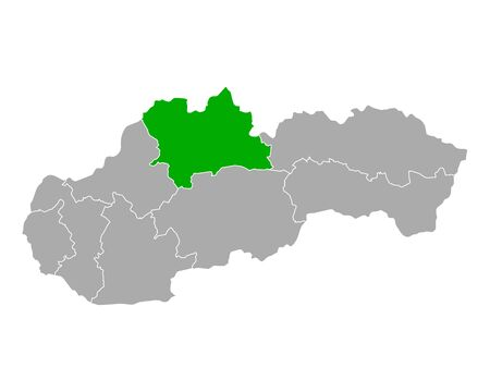 Map of Zilinsky kraj in Slovakia