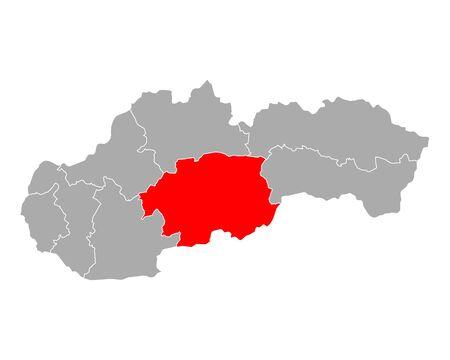 Map of Banskobystricky kraj  in Slovakia Ilustracja