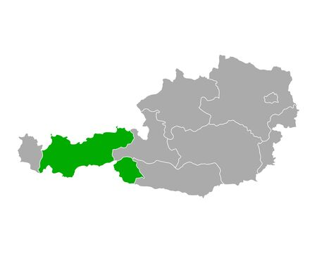 Map of Tyrol in Austria