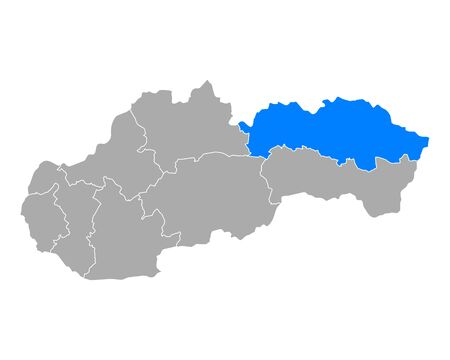 Map of Presovsky kraj in Slovakia 向量圖像