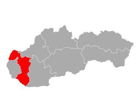 Map of Trnavsky kraj in Slovakia 일러스트