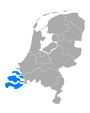 Map of Zeeland in Netherlands
