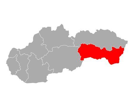 Map of Kosicky kraj in Slovakia