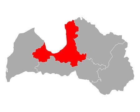Map of Riga in Latvia