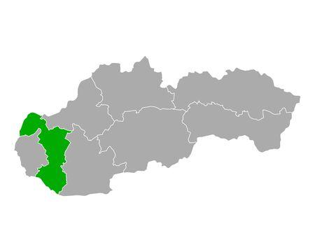 Map of Trnavsky kraj in Slovakia Ilustracja