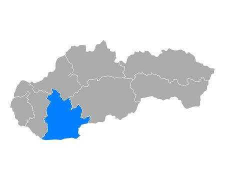 Map of Nitriansky kraj  in Slovakia 일러스트