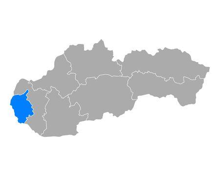 Map of Bratislavsky kraj in Slovakia 일러스트