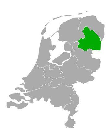 Map of Drenthe in Netherlands