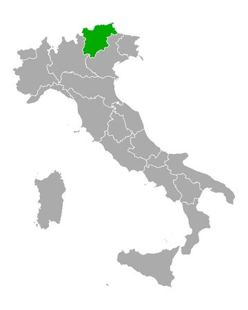 Map of Trentino-South Tyrol in Italy