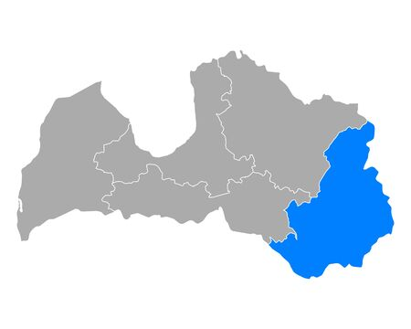 Map of Latgale in Latvia