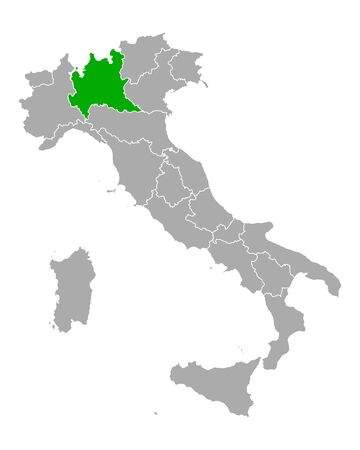 Map of Lombardy in Italy
