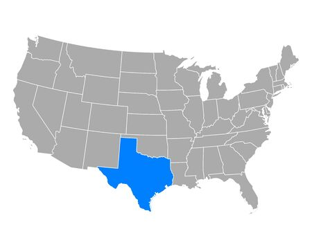 Map of Texas in USA Vector Illustration