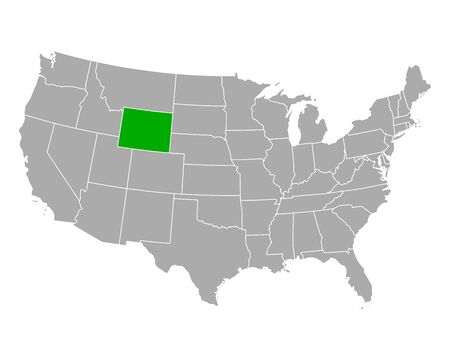 Map of Wyoming in USA