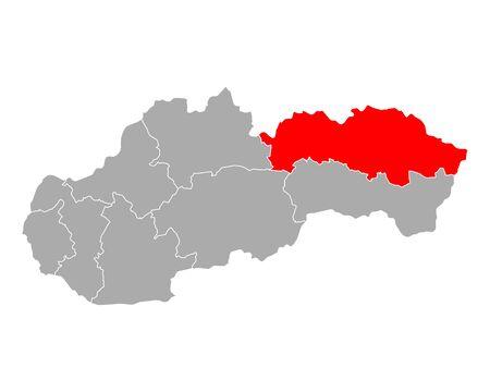 Map of Presovsky kraj in Slovakia Ilustracja