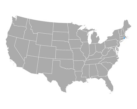 Map of Rhode Island in USA Vector Illustration
