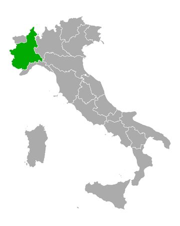Map of Piedmont in Italy