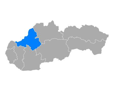 Map of Trenciansky kraj  in Slovakia