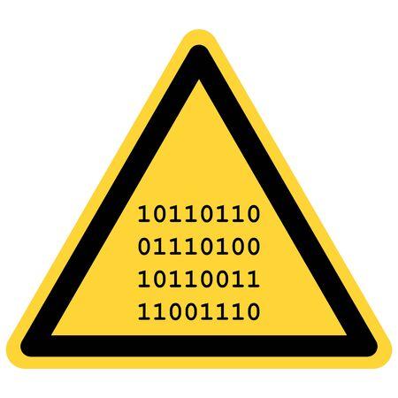 Binary code and danger sign 일러스트