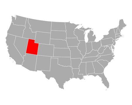 Map of Utah in USA