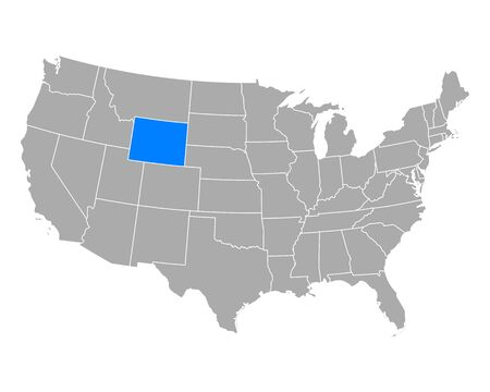 Map of Wyoming in USA Иллюстрация
