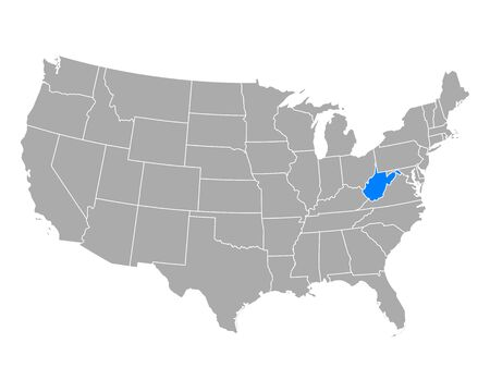 Map of West Virginia in USA