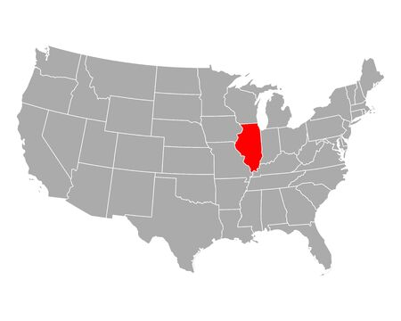 Map of Illinois in USA 向量圖像