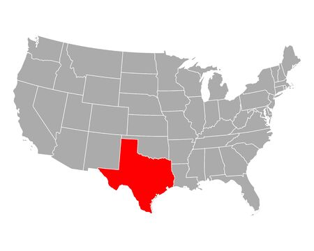Map of Texas in USA