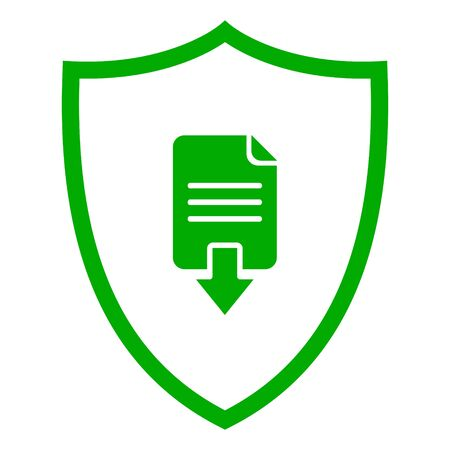 Document download and shield 向量圖像