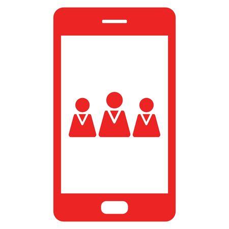 Team and smartphone 向量圖像