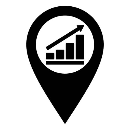Bar chart and location pin 向量圖像