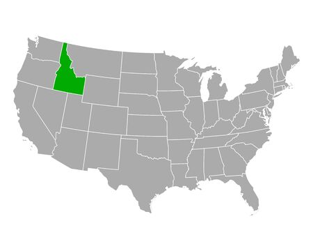 Map of Idaho in USA