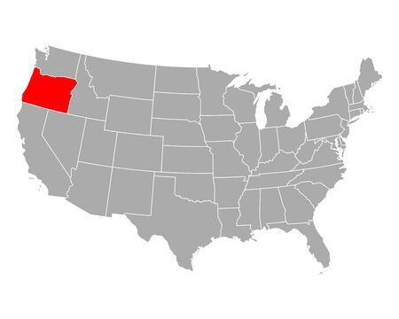 Map of Oregon in USA 向量圖像