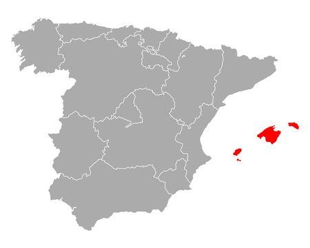 Map of Balearic Islands in Spain