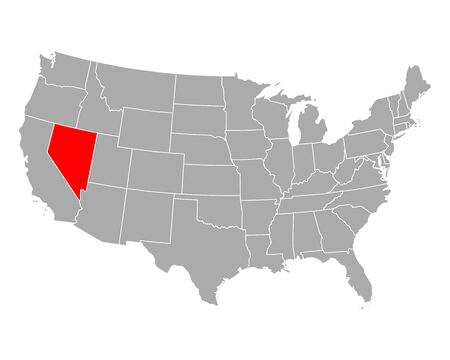 Map of Nevada in USA