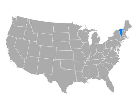 Map of Vermont in USA