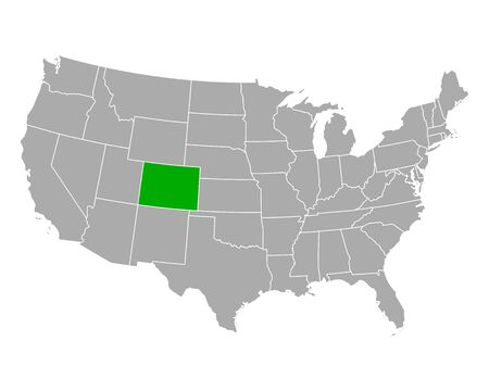 Map of Colorado in USA