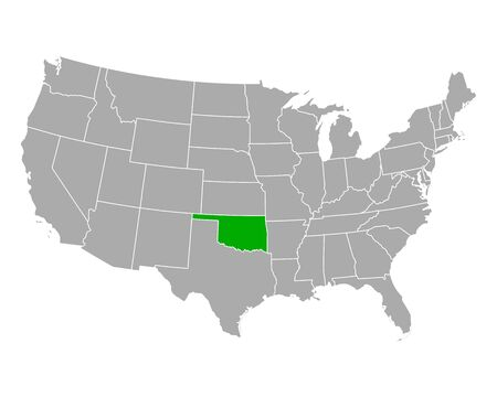 Map of Oklahoma in USA