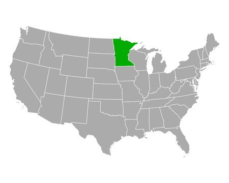 Map of Minnesota in USA