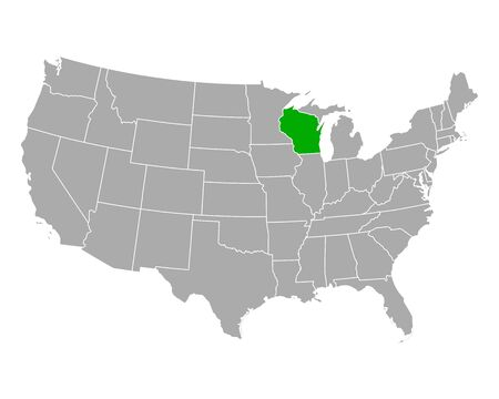 Map of Wisconsin in USA