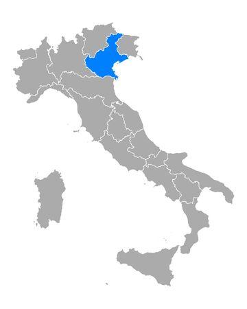 Map of Veneto in Italy
