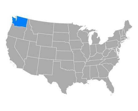 Map of Washington in USA 向量圖像