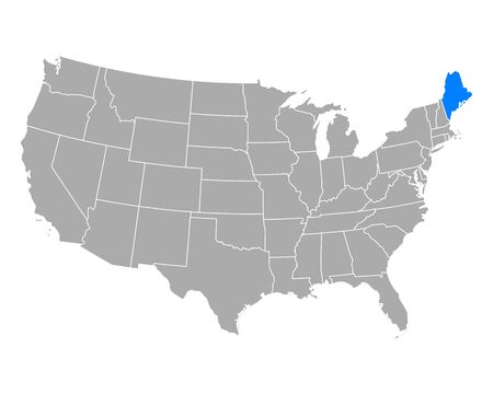 Map of Maine in USA