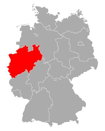 Map of North Rhine-Westphalia in Germany