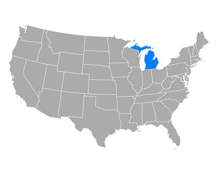 Map of Michigan in USA
