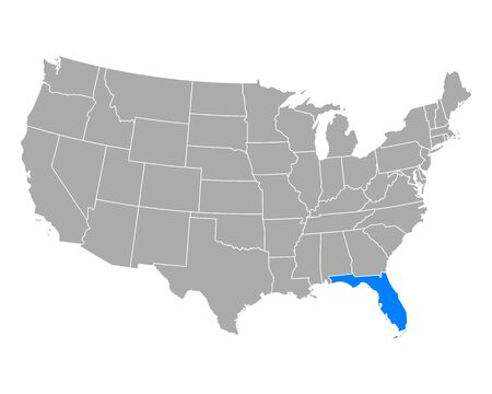 Map of Florida in USA