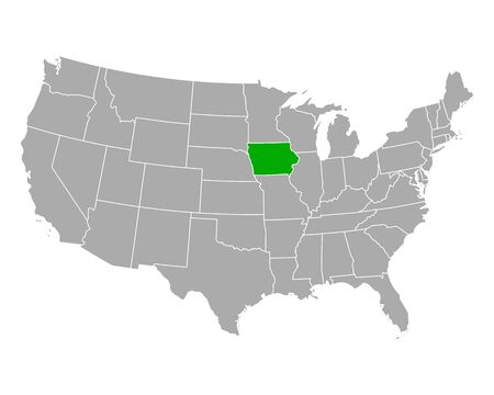 Map of Iowa in USA 向量圖像