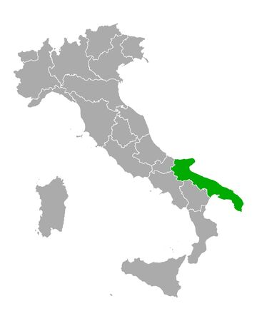 Map of Apulia in Italy